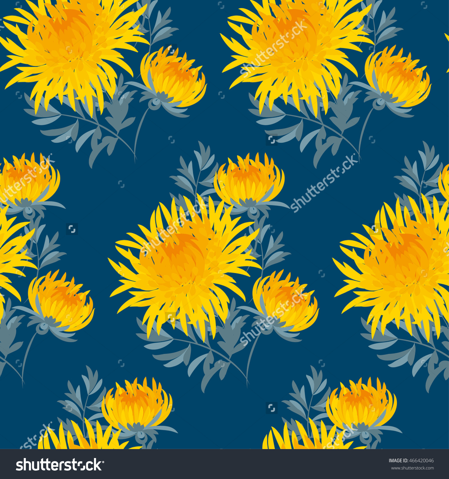 Fall Flower Seamless Pattern. Yellow Chrysanthemum Repeatable.