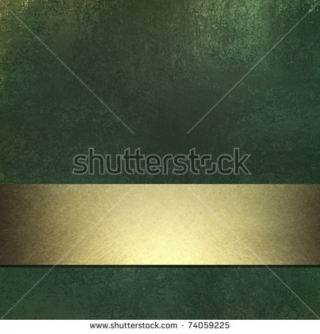 Dark Green Background With Grunge Texture And Gold Ribbon Stripe.