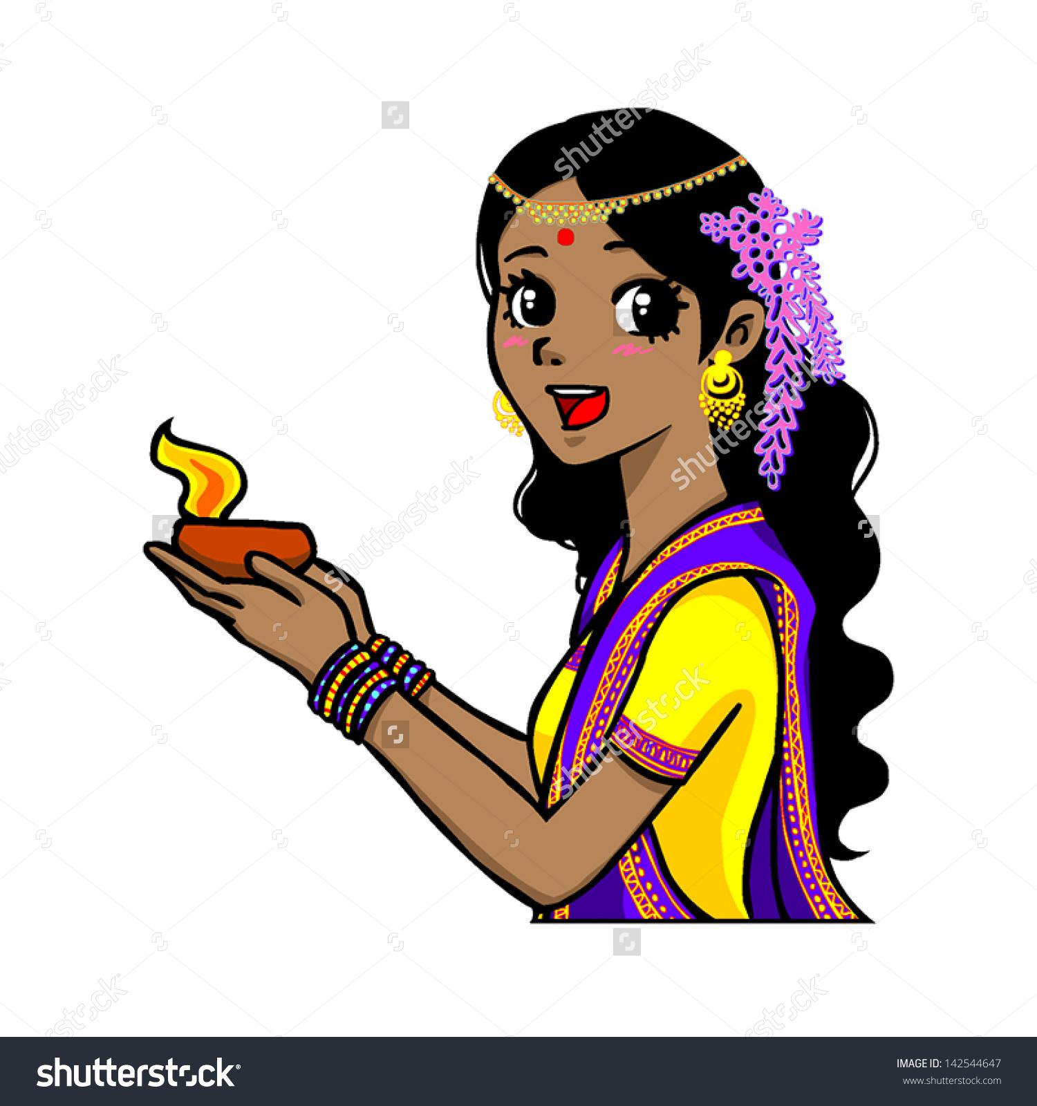 Deepavali Dawali Vector Drawing Cute Indian Stock Vector 142544647.