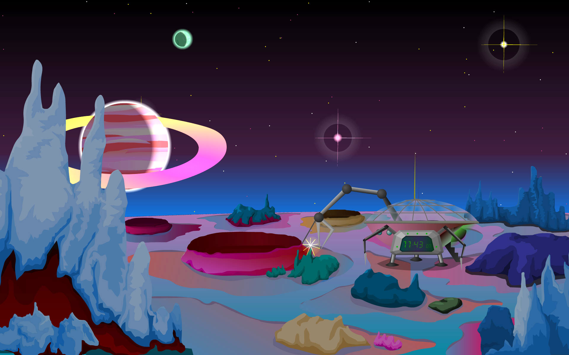 Deep Space Clock: a picturesque view of a planet's surface in your.