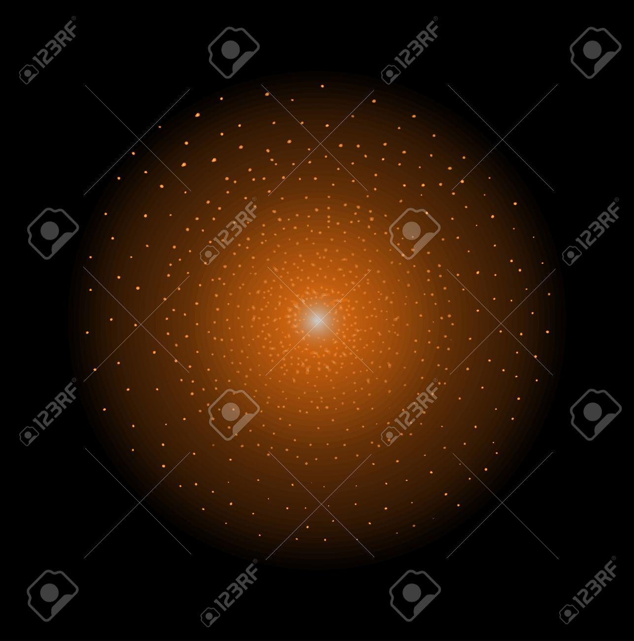Deep Space Galaxy Star Shining. Orange Color. Vector Clip Art.