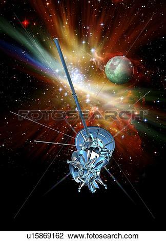 Clip Art of Deep space probe, artwork u15869162.