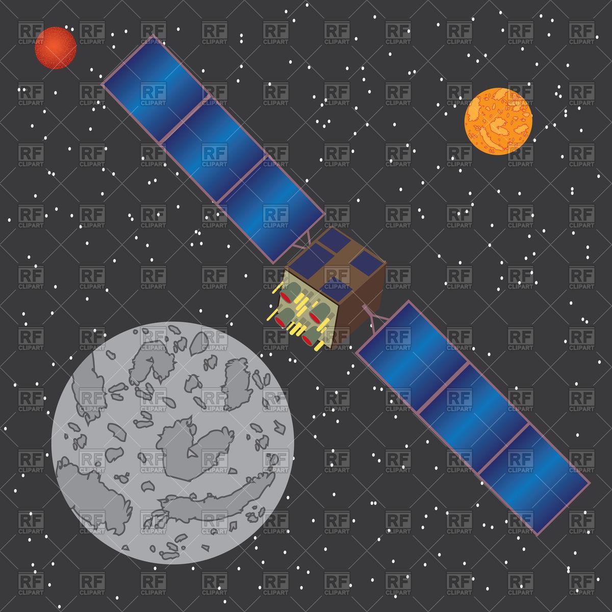 Satellite flying in deep space Vector Image #100458.