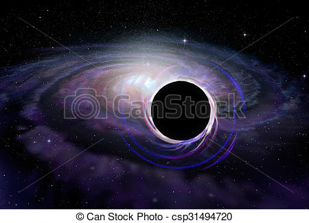 Clip Art of Black hole star in deep space, illustration.