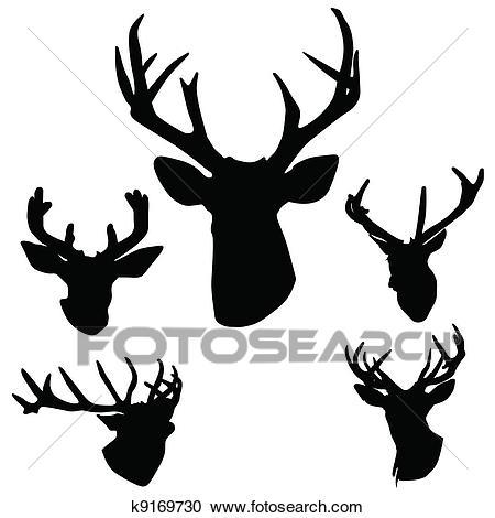 Deer antlers silhouette Clipart.
