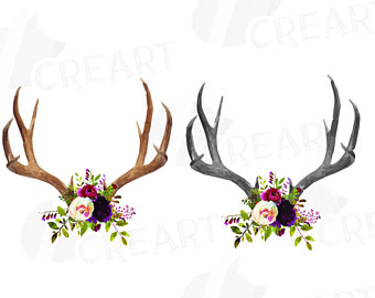 Flower clip art deer antler.
