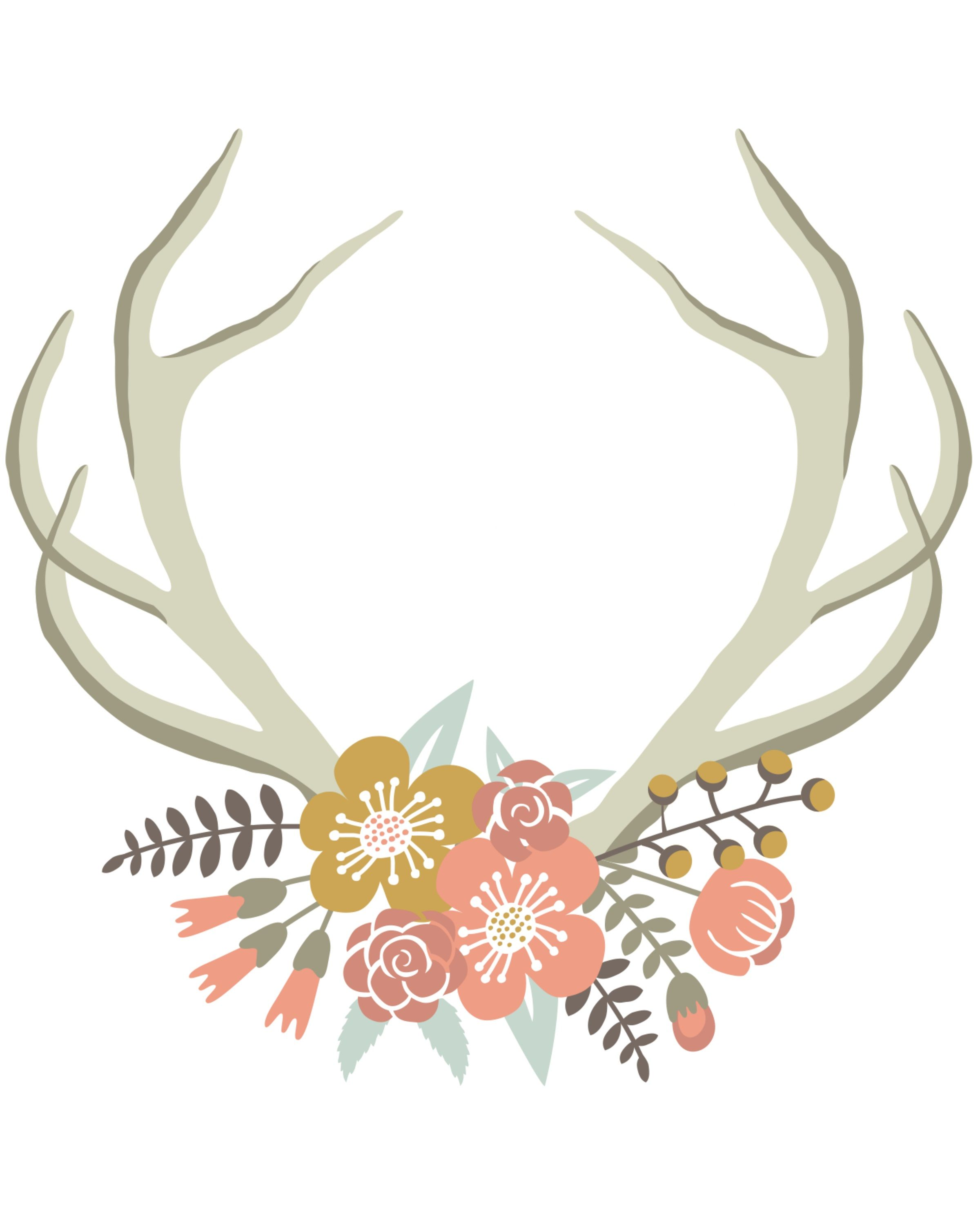 Floral Deer Crown free nursery or gallery wall printable. Download.