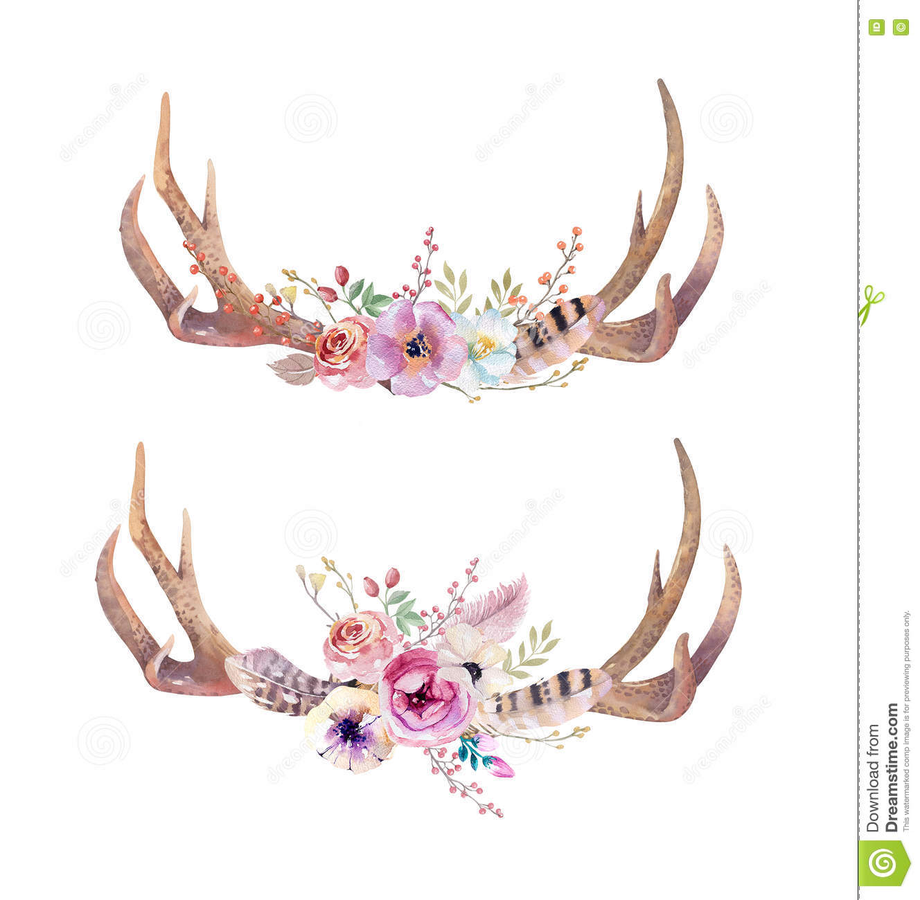 Watercolor Bohemian Deer Horns. Western Mammals. Watercolour Hip.