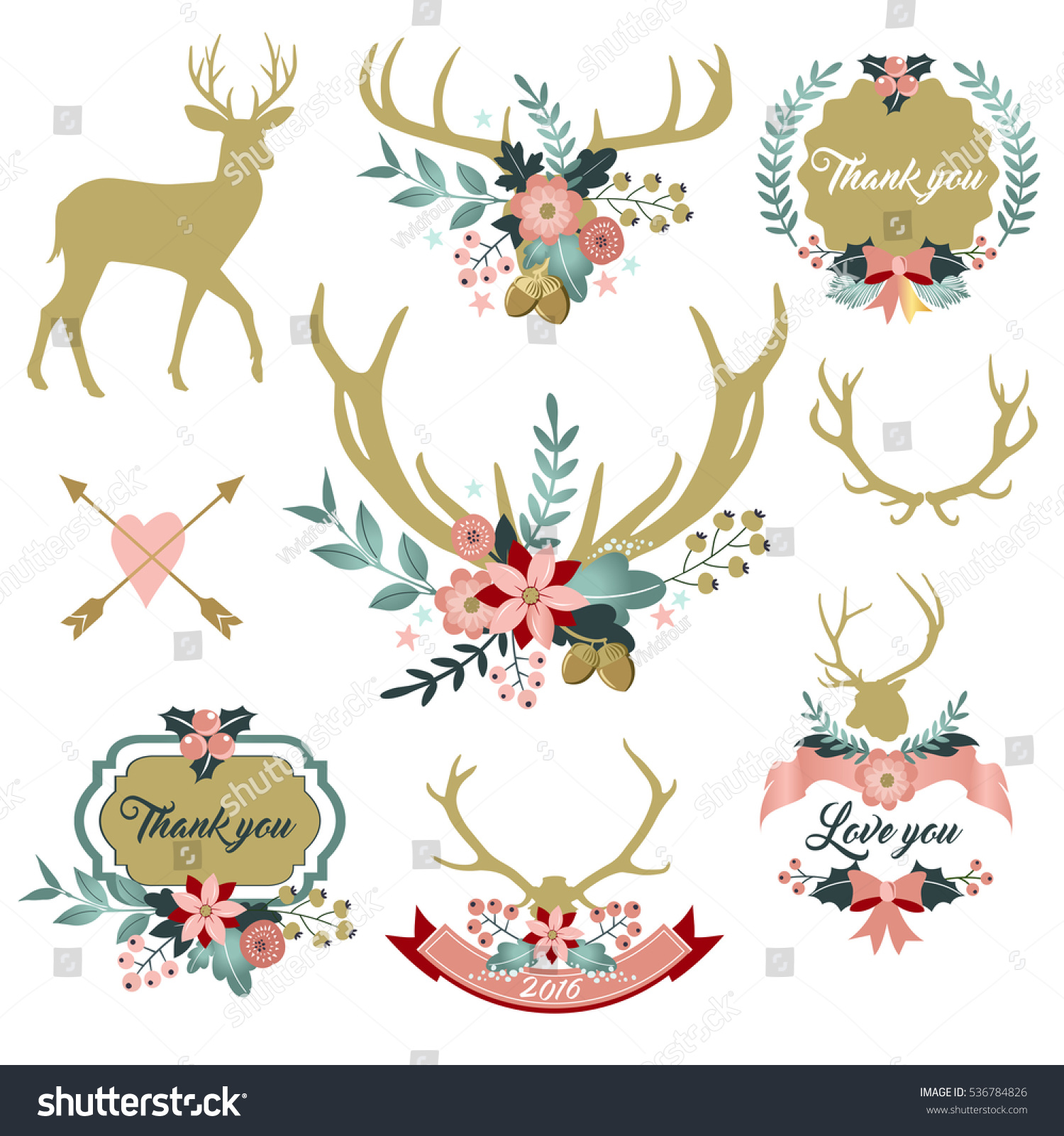 Deer Antlers Flowers Deer Floral Clipart Stock Vector (Royalty Free.