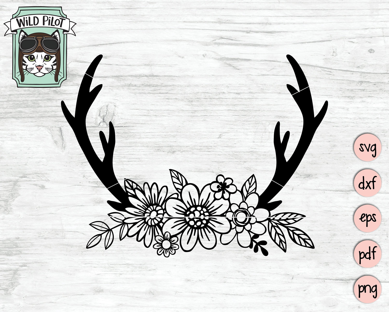 Floral Deer Antlers SVG, Deer Antlers Flowers svg file, Flower Antlers clip  art, Floral Deer Antlers clipart, boho, cut file, commercial.