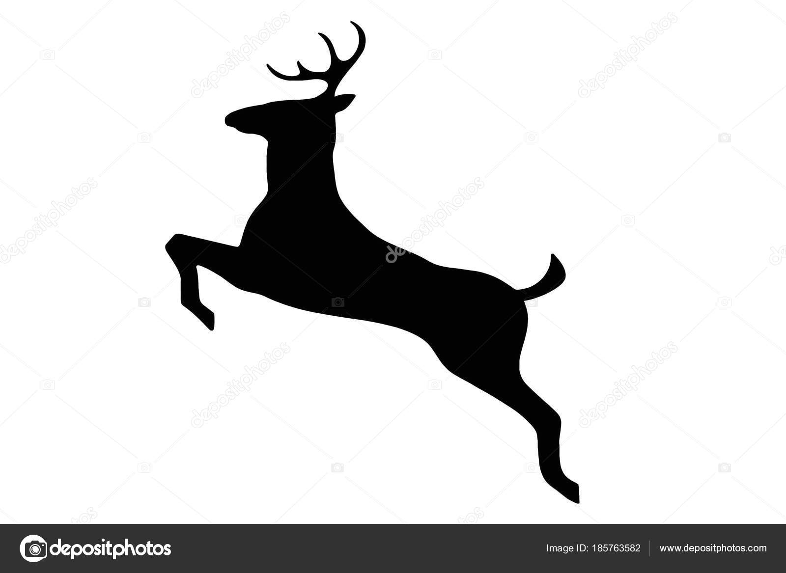 Clipart: deer black and white.