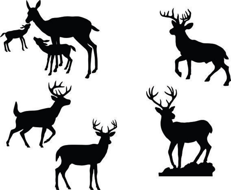 Deer Buck Fawn Clipart Silhouettes, eps dxf pdf png svg Files.