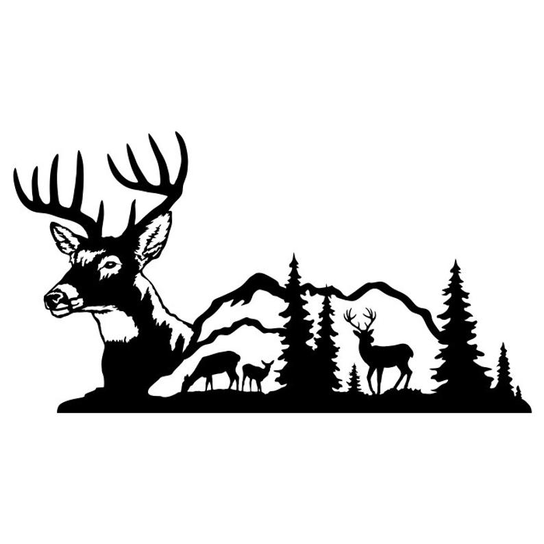 Deer Buck Clipart Silhouettes Scene, eps dxf pdf png svg ai Files.