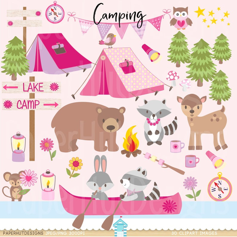 Girls Camping Clipart.