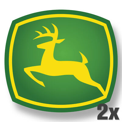 2X JOHN DEERE Premium Logo Vinyl Decal Sticker Green Tractor.