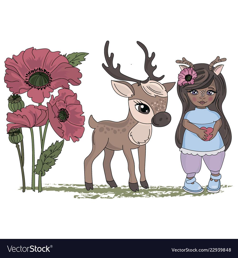 Deer girl cartoon clipart.