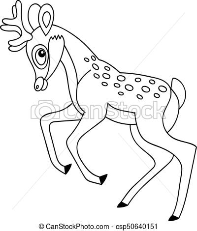 Vector Cute Cartoon Deer.