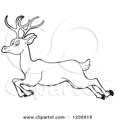 Cartoon of a Black and White Outlined Running Deer.