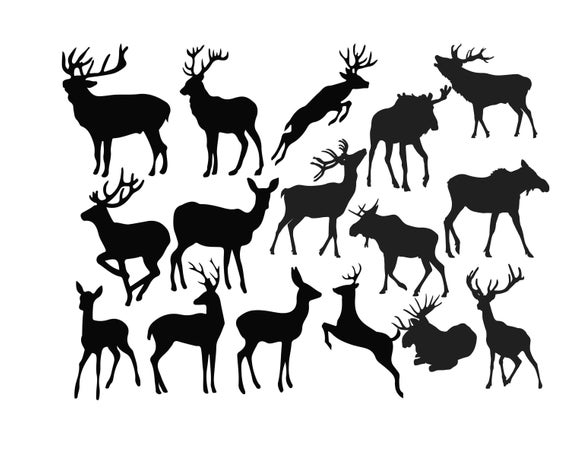 Deer Silhouette, Deer Clipart, Animal Clip Art, Wild animal silhouette,  Deer image, Deer illustration, Deer svg, PNG dxf Buy 2 Get 1 FREE.