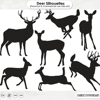 Woodland Deer ClipArt Silhouettes, Deer Digital Stamps, Forest Animals.