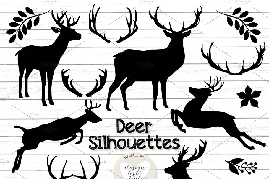 Vector deer silhouettes cliparts.