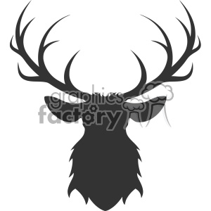 deer head silhouette vector art clipart. Royalty.
