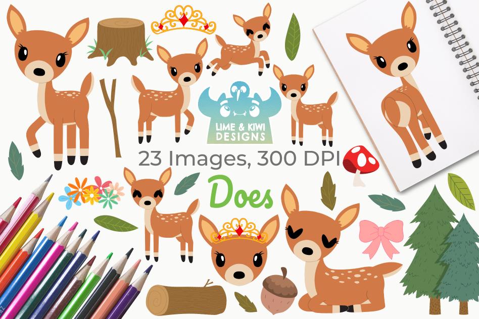 Does Deer Clipart, Instant Download Vector Art.