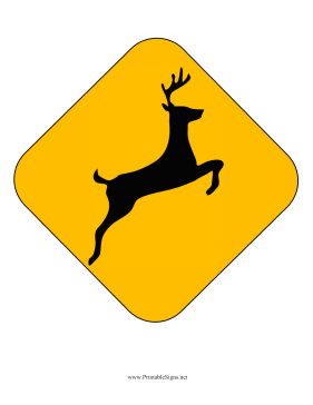 Deer Crossing Caution Sign Printable Sign, free to download.