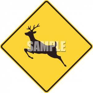 Deer Crossing Symbol Road Sign.
