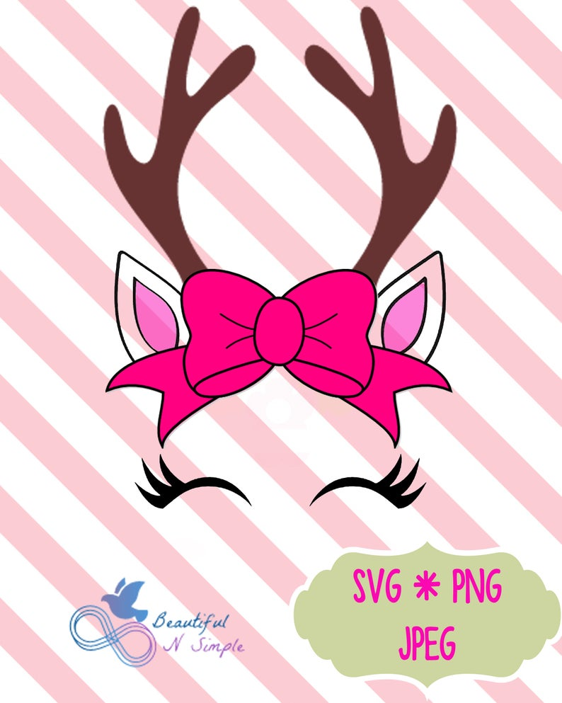 Deer Face, Deer with eyelashes, Baby, Birthday, Deer Clipart, SVG, png,  jpeg, Deer Bow, Layered Vector Files.