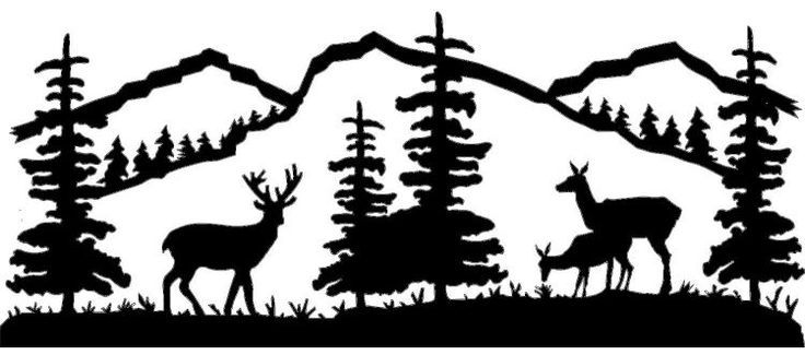 Mountain Scene Deer Family.