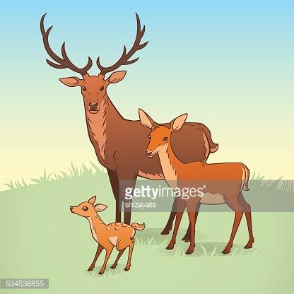 Deer family Clipart Image.