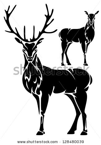 Standing Deer Outline Silhouette Beautiful Wild Stock Vector.