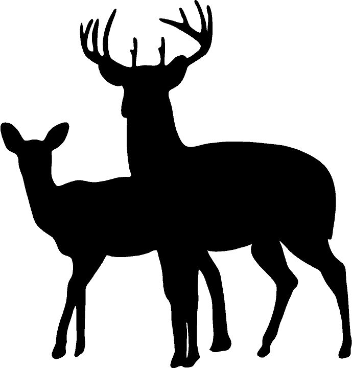 deer family head black and white clipart