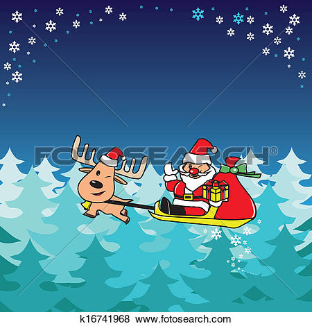 Clip Art of Santa and deer fly over the forest k16741968.