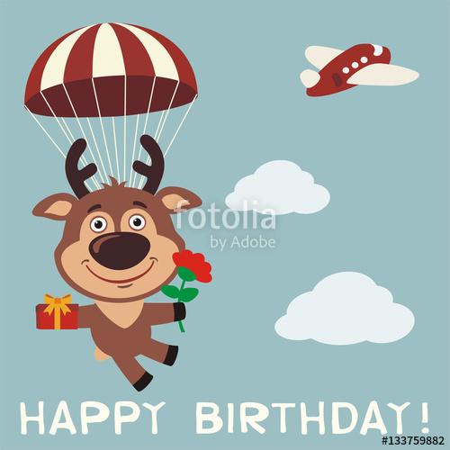 Happy birthday! Funny deer fly on parachute with gift and flower.