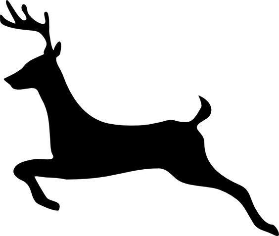 Flying Reindeer Silhouette.