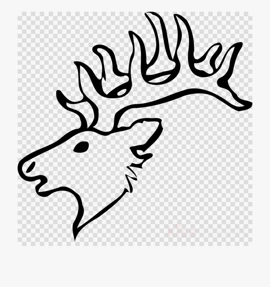 Draw A Deer Head Clipart Reindeer White.