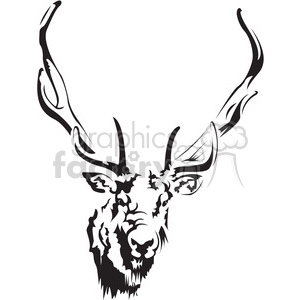 black and white deer head clipart. Royalty.