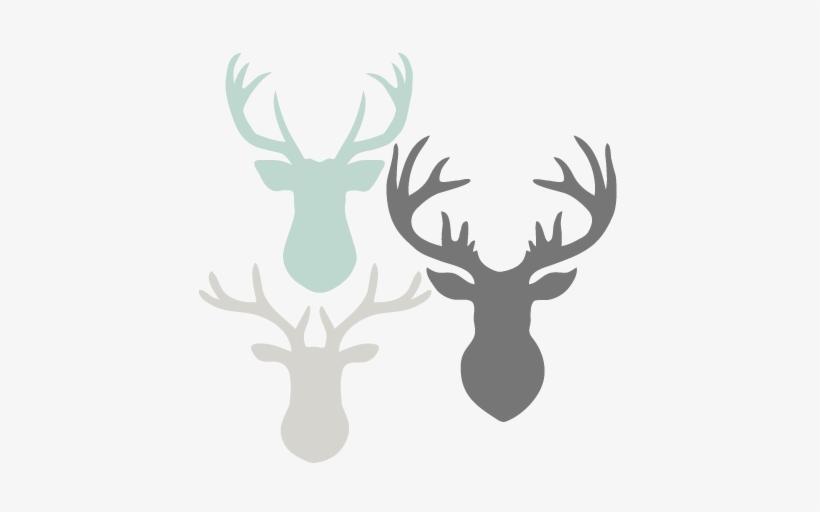 Deer Head Set Svg Scrapbook Cut File Cute Clipart Files.