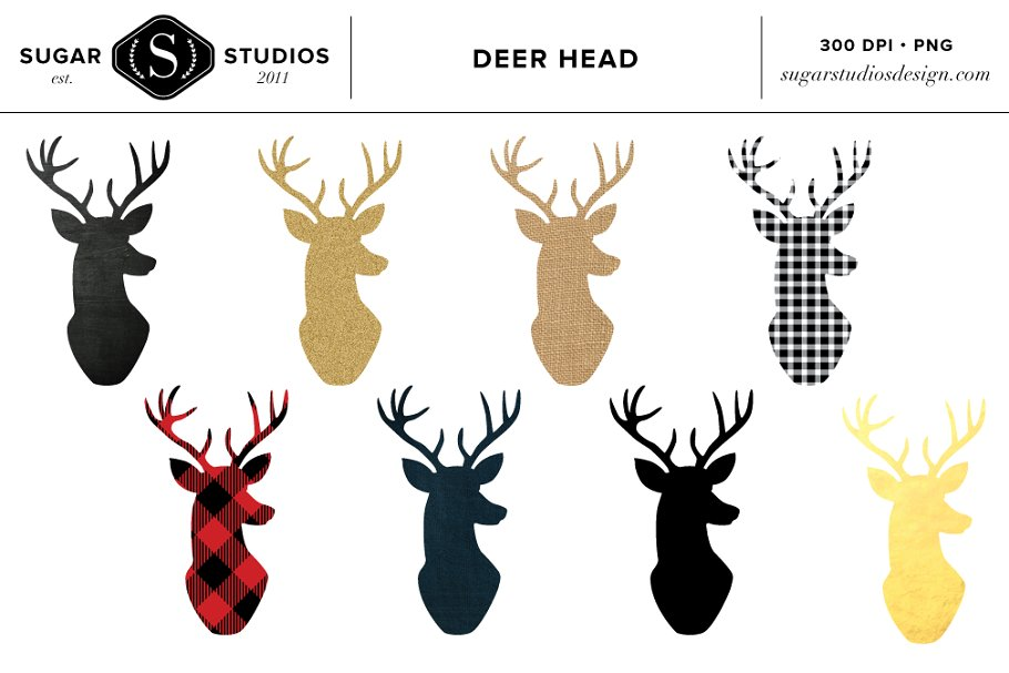 Deer Head Clipart Set.
