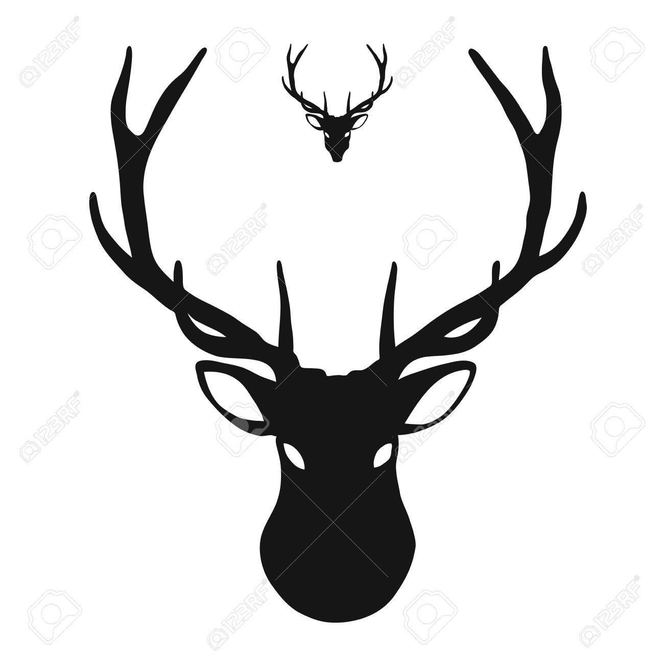 Deer head Icon, hand.