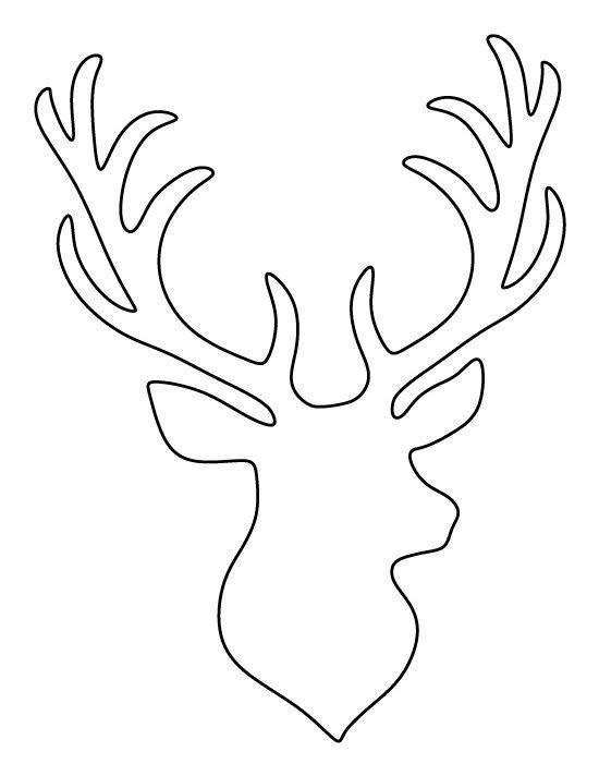 Unique Deer Head Outline Coloring Pages.