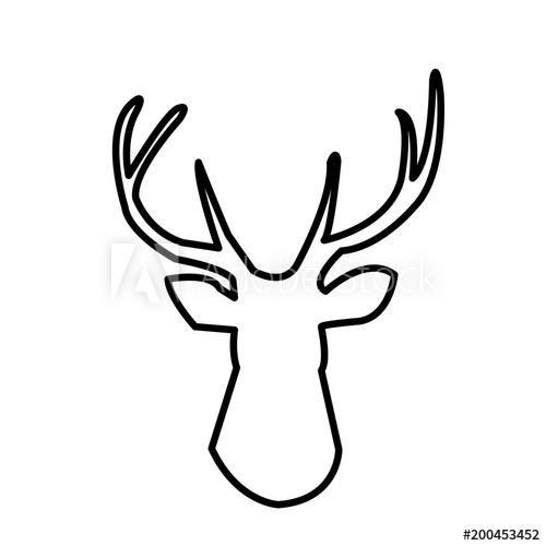 deer head outline clip art on white background.