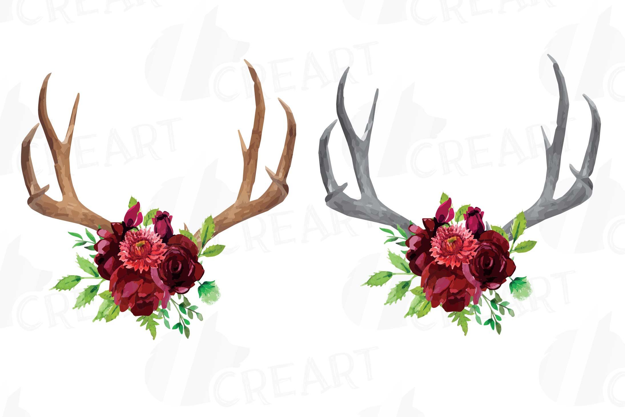 Watercolor Floral Deer horn clipart, Indian Tribal deer horn.