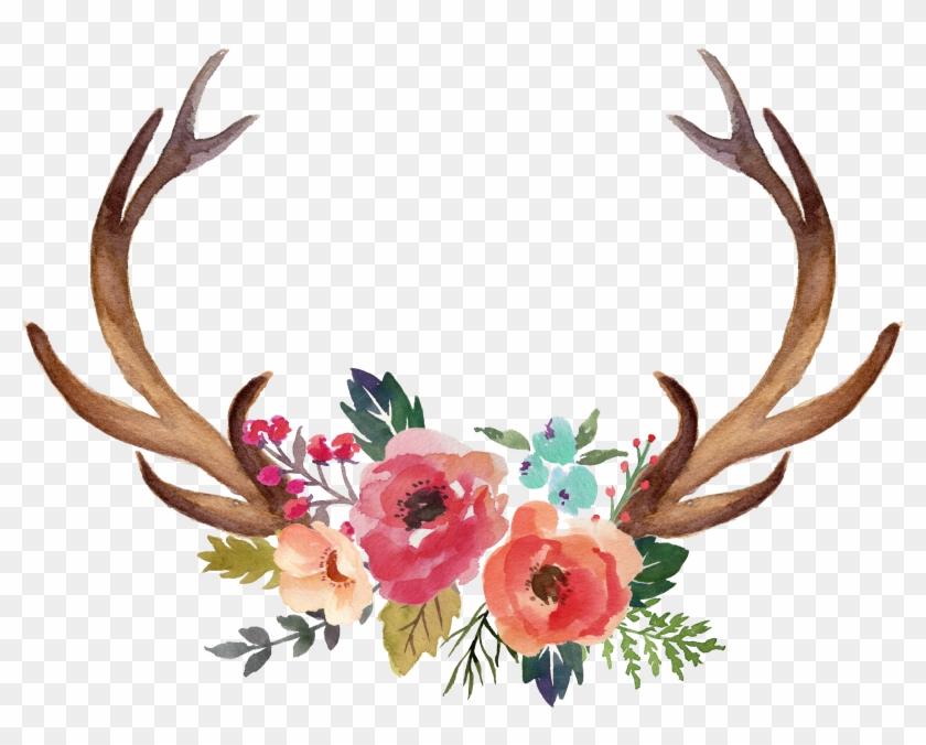 Deer Antler Moose Flower Clip Art.