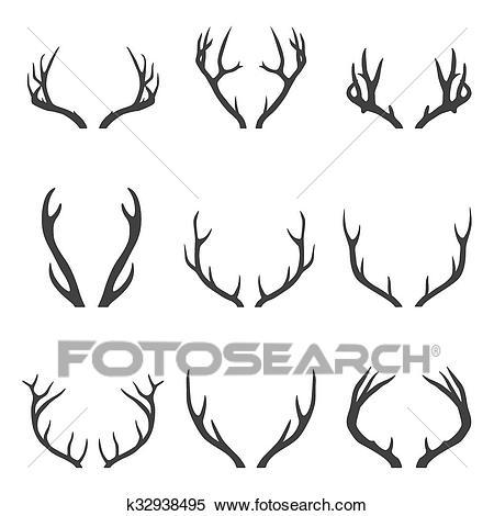 Set of deer horns Clipart.