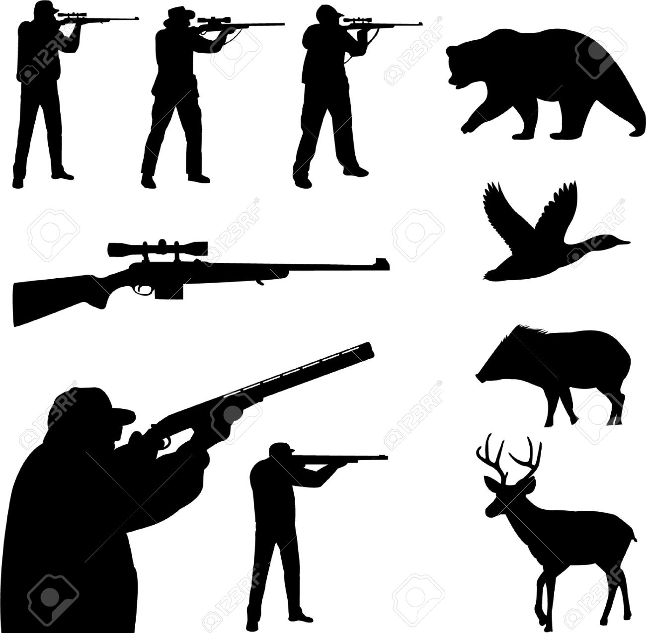 Deer Hunter Silhouette Clipart