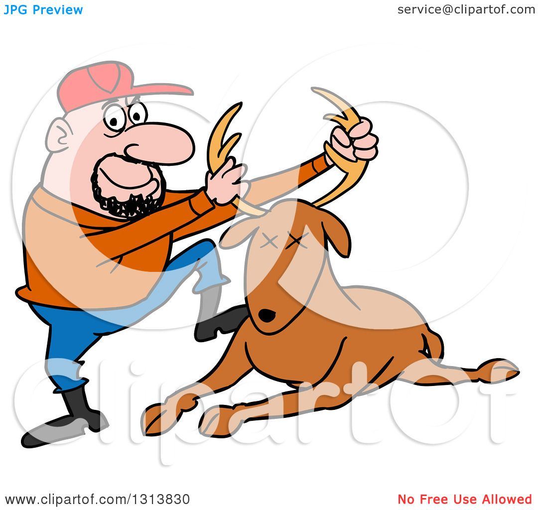 Clipart of a Cartoon Caucasian Male Hunter Holding up a Deer Stag by.
