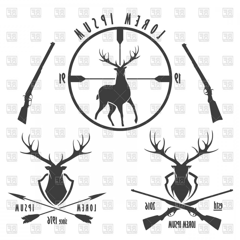 Set Of Deer Hunting Emblems Vector Clipart.